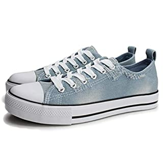 PepStep Canvas Sneakers for Women/Light Blue/Navy/Black Casual Shoes Low Top Lace up Fashion Sneakers (8, Light Blue)