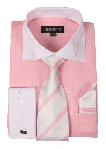 George Dress Shirts - George's Two-tone Shirts w/ Matching Tie, Hanky & French Cuffs AH621-Pink-15-15 1/2-34-35