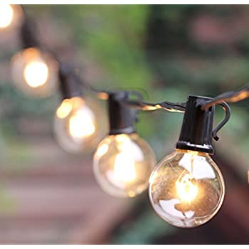 Outdoor G40 String Lights, Vintage Backyard Patio Lights With 25 Clear  Globe Bulbs UL