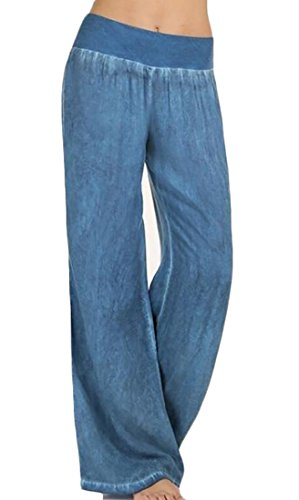 RRINSINS Women Loose High Waist Washed Denim Wide Leg Palazzo Pant Blue S