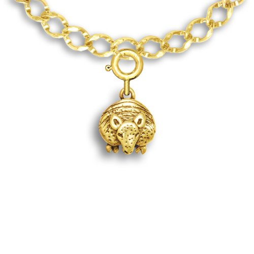 14k Gold Facing Armadillo Charm for Charm Bracelet by The Magic Zoo (Armadillo Costume)