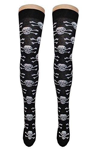 (Stripe Check Box Thigh High Fancy Socks Ladies Party Wear Over The Knee Socks#(Multi Skull Black Socks US 2-4#Women))