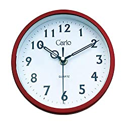 CARLO Wall Clock, 7 Inch Super Silent Non Ticking - Quartz Battery Operated Round Easy to Read Home/Office/School Clock (Red)