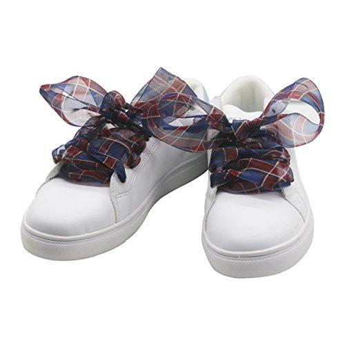 - Shoe Laces,Plaids Pattern Casual Flat Satin Ribbon Shoelaces 4cm Wide Sneaker Shoestrings for Women Girls, Flower-11