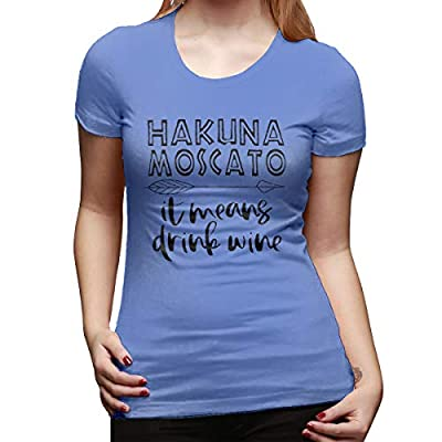 Women Hakuna Moscato It Means Drink Wine T-Shirt Short Sleeve Funny Letters Print Tees Tops