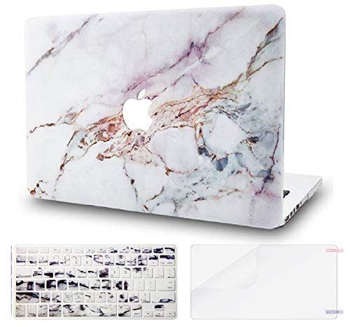 "KECC Laptop Case for MacBook Air 13"" w/Keyboard Cover Plastic Hard Shell + Screen Protector A1466/A1369 3 in 1 Bundle (White Marble 4)"
