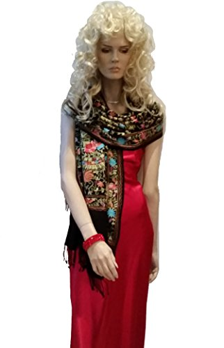 Scarf, Pashmina shawl with all over Crewel embroidery from Cashmere Pashmina Group