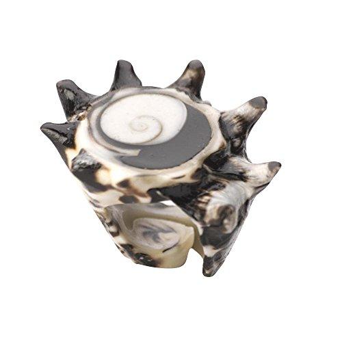 81stgeneration Women's Shell Natural White Brown Spiral Shiva Eye Ring