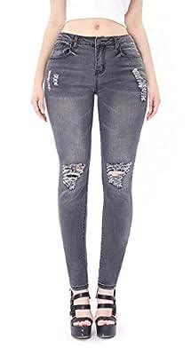 Women's Distressed Ripped Butt Lift Skinny Jeans Stretchy Cut Up Casual Hem Denim Pants
