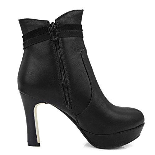 YE Damen Blockabsatz High Heels Plateau Stiefeletten mit Glitzer Strass Reißverschluss Ankle Boots Schwarz