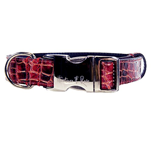 (Hartman & Rose Contemporary Collection Dog Collar, Cherry, Large )