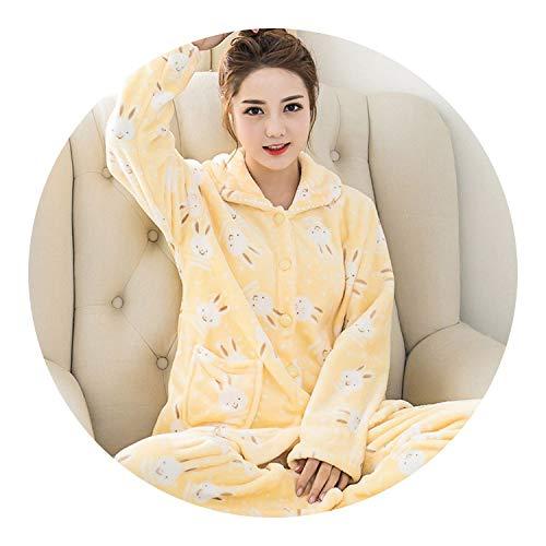 pursuit-of-self-Sleepwear Dress Women Pajama Sets Flannel Long Sleeved Pant Suit,Yellow 18,XXL