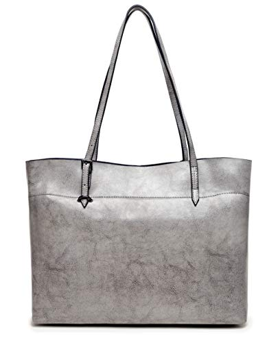 Hot Grey Genuine Bags Women's Covelin Tote Soft Leather Handbag Silver across Shoulder afW8wv