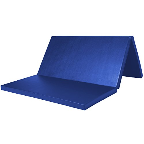 Leapair PU Leather Tri-Fold 2-Inch Thick Exercise  Pad, Blue, 4 x 6 - Kids Anchorage Day