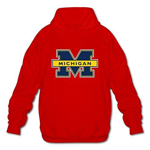- JeFF Men's NCAA Michigan Wolverines Logo Long Sleeve Sweatshirt Hoodies Red X-Large (US Size)