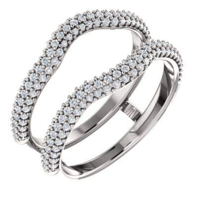 14k White Gold Polished 0.5 Dwt Diamond Ring Guard - Size 6.5 ()
