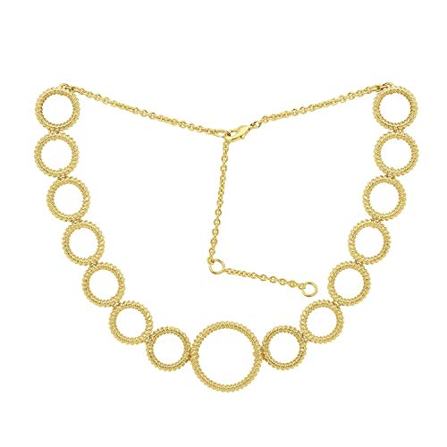 6TH AVE Hoop Stack Collection - Yellow Plated Graduated Circle Station Necklace