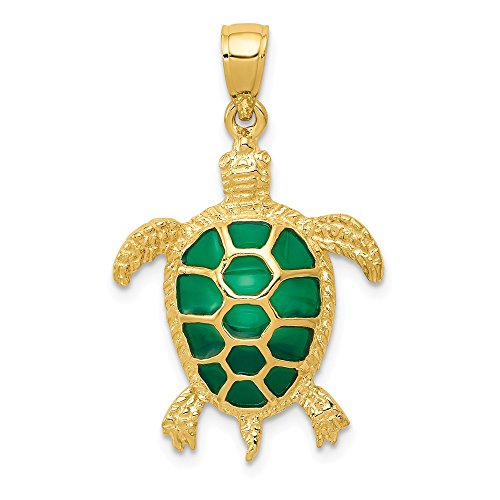 14k Yellow Gold Green Enameled Sea Turtle Pendant Charm Necklace Life Fine Jewelry Gifts For Women For Her ()