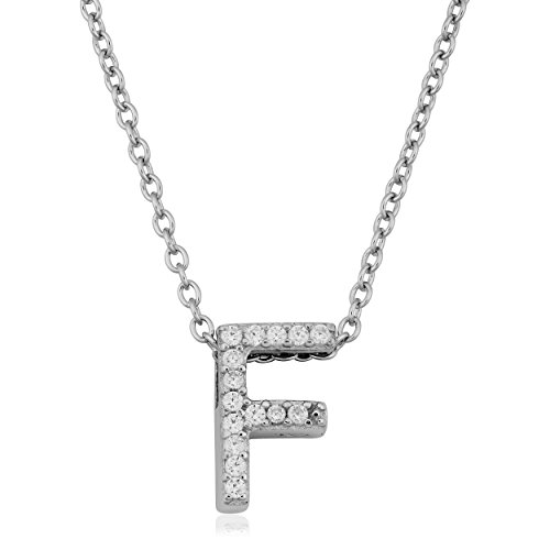 Sterling Silver and Cubic Zirconia Letter F Initial Necklace (18 inch) Cubic Zirconia Letter