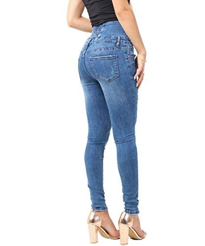 SS7 Jeans Jean 34 Taille Denim Blue Femmes Nouveau Bleu Moyen Denim Skinny Haute 42 Taille rU5nUq4w