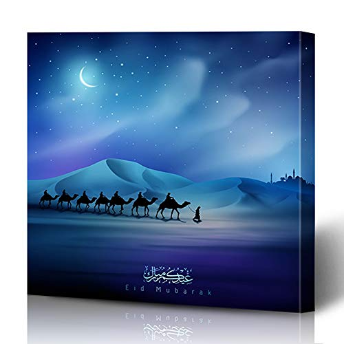 Ahawoso Canvas Print Wall Art 16x16 Inch African Adha Eid Mubarak Night Arabian Camel On Desert Moon Hajj Kareem Greeting Ramazan Modern Artwork Printing Home Decor Wrapp Gallery Painting (Arabian Nights Wall Art)