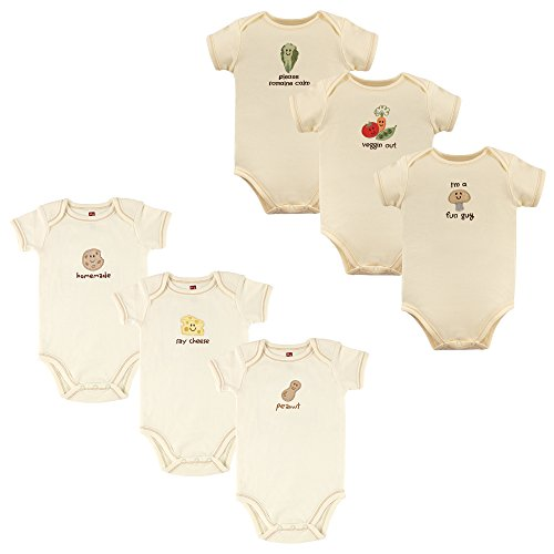 Touched by Nature Unisex Baby Organic Cotton Bodysuits, Peanut Mushroom 6-Pack, 3-6 Months (6M)