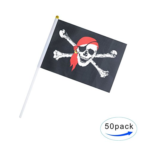 Kind Girl 50 Pack Hand Held Pirate Flags Flag Stick Flag Round Top Flags, Party Decorations Supplies, Sports Events,Pirate Festival,Pirate party (Jolly Roger Red Bandana) (Pirate Flag Girl)