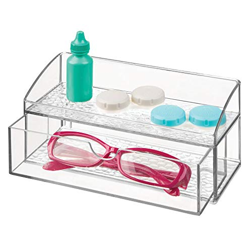 mDesign Compact Plastic Bathroom Organizer Storage Center with 1 Compartment and 1 Drawer for Organizing Contacts, Glasses, Dental Floss, Tweezers, Vitamins, Medicine - - Medicine Compact