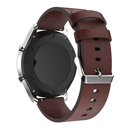 PINHEN 22mm Quick Release Watch Bands,Leather Replacement Strap for Gear S3, Moto 360 46mm, LG G Watch, Huawei Watch 2 Classic, Ticwatch Pro (Leather ...