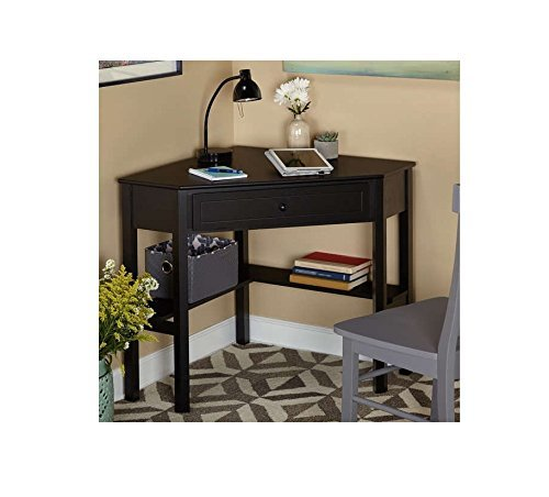 Black Wood Corner Computer Desk with Drawer with Unusual Angles, the Black Wood Desk Features a Drawer and Two Shelves for Additional Storage Space by Simple Living Simple Living