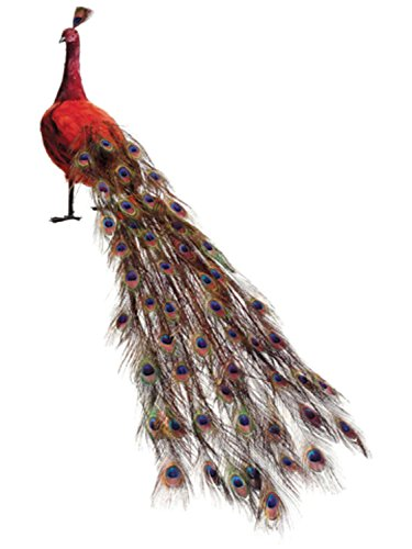 Allstate Life-Size Red Regal Peacock Bird with Closed Tail Feathers Decoration, 60