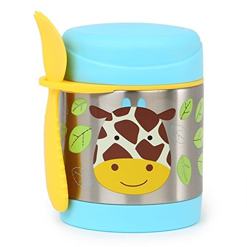 Insulated Food Jar and Spork Set For Baby and Toddlers, Stainless Steel, Giraffe