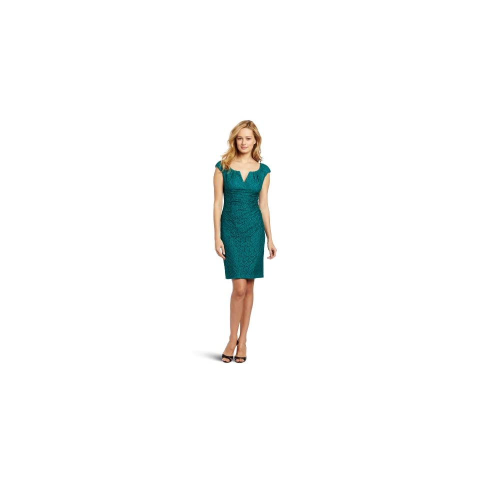 Adrianna Papell Womens Pleated Top Lace Dress, Teal, 6