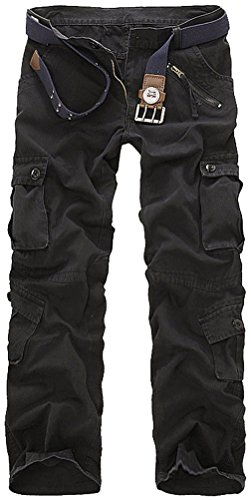 Men's Cotton Washed Multi Pockets Military Cargo Pant Black 36 (Cargo Loose Straight Pant)