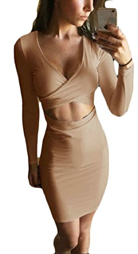 Khaki Bodycon Jaycargogo Cross Sleeved Sexy Long Midi Dress V Nightclub Women Neck Hollow qRR0r7W