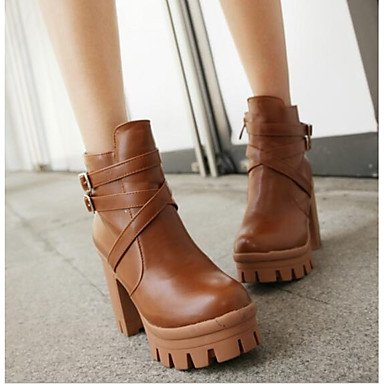 Yellow Casual Fall Boots Brown EU39 Fashion Basic Shoes Pu Boots UK6 Black Pump Leather Booties CN39 US8 Boots Chunky Nappa Women'S For RTRY Heel Ankle Winter wqXnvUxRH