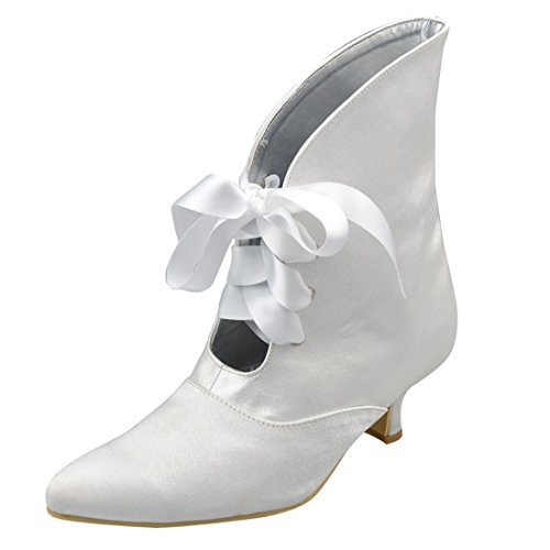 Minishion Womens Mid Heel Satin Evening Party Bridal Wedding Shoes Strappy Ankle Boots Ivory-5cm Heel TNG35NSj