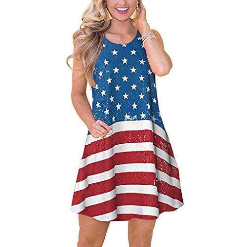 NEARTIME Mini Dress for Women's Summer America Flag Print July 4th T Shirt Sleeveless Boho Casual Swing Beach Dress