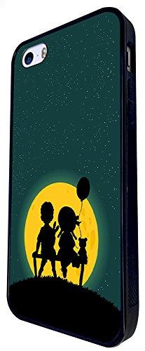 870 - Cute Boy & Girl Bench Teddy Bear Design iphone SE - 2016 Coque Fashion Trend Case Coque Protection Cover plastique et métal - Noir