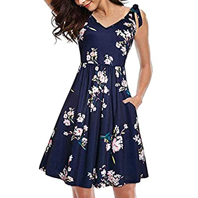 Women's Loose V-Neck Sleeveless Cold Shoulder Print Short Dress, Summer Floral Comfy Casual Bow Tie Pocket Mini Sundress: Clothing