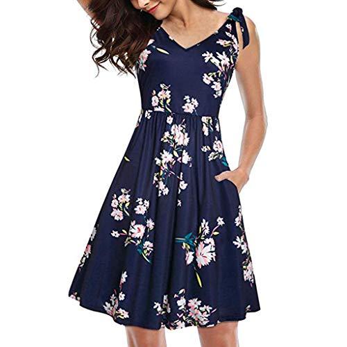 Women's Swing Dress Floral V-Neck Summer Dress Casual Bow Tie Pocket Sundress with Belts Navy