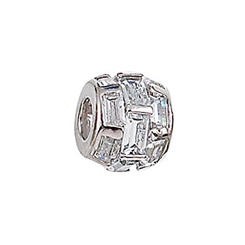 Rectangular Spacer Beads (Zable Sterling Silver Staggered Rectangular CZ Spacer)