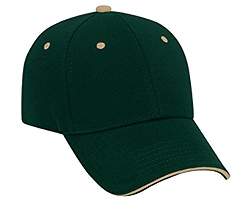 Hats & Caps Shop Jersey Knit Sandwich Visor Low Profile Pro Style Caps - Dk.Grn/Dk.Grn/Kh... - By (Santa Chef Felt)