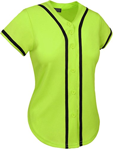 Hat and Beyond up Womens Baseball Button Down Athletic Tee Short Sleeve Softball Jersey Active Plain Sport T Shirt (Small, 01 Lime Green/Black)
