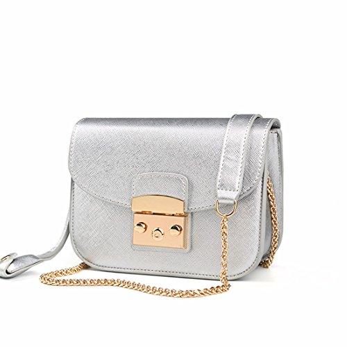 Moda borsa Messenger catena quadrata piccola borsa borsetta in autunno e in inverno, borsette, argento