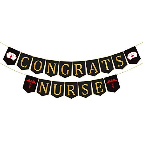 Great Graduation Decorations for Graduation Party Supplies,Congrats Nurse Banner, Nurse Decorations - Assembled - Nurse Party Decorations | Nurse Graduation Party Supplies 2019 | Red and Gold Nursing Grad Decorations, Medical Nurse Nursing Party, Large