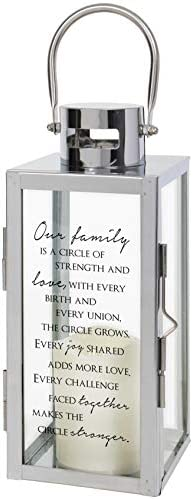 The Bridge Collection Etched Glass Memorial Lantern with Flameless LED Candle Our Family
