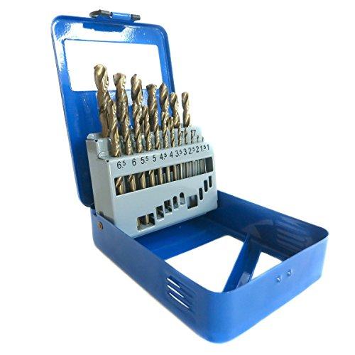 S&R Metallbohrer Set 1,5-10 mm , 19 Stk, DIN 338, HSS COBALT, Kobaltlegiert, C-Schliff nach DIN 1412 135°, geschliffen, Metallbox. Profi-Qualität