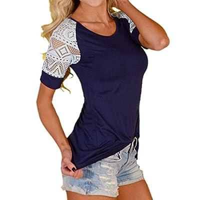 YANG-YI Women Fashion Summer Solid Blouse Lace T-Shirt Short Sleeve Casual Tops