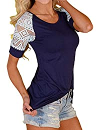 Women Fashion Summer Solid Blouse Lace T-Shirt Short Sleeve Casual Tops